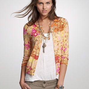 J Crew Sunshine Peony Floral Print Wool Cardigan